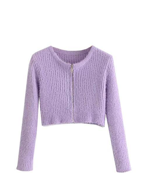 Load image into Gallery viewer, Purple Mohair Round Neck Cropped Cardigan Top
