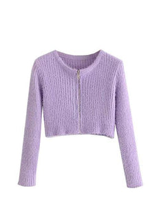 Purple Mohair Round Neck Cropped Cardigan Top