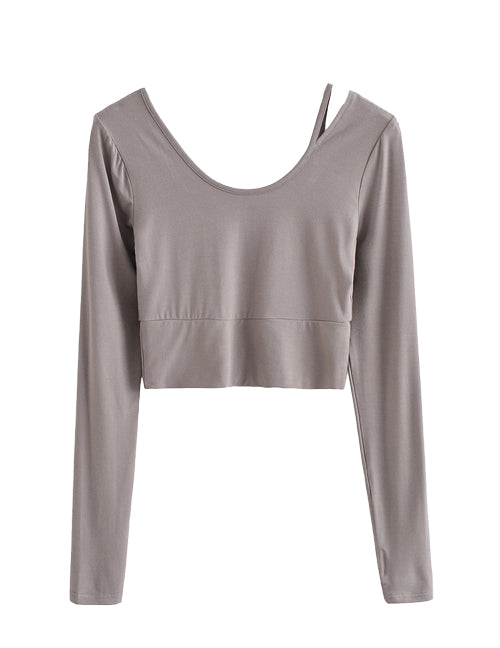 Load image into Gallery viewer, Gray Super Soft Cut Out Shoulder Top