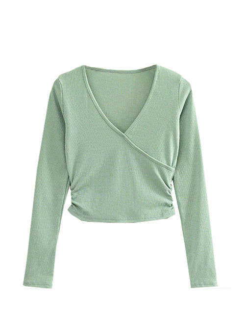 Green Side Ruched Long Sleeve Top