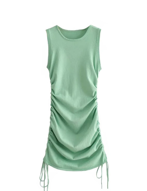 Load image into Gallery viewer, Green Drawstring Mini Dress
