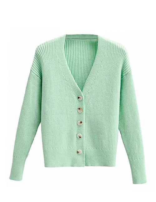 Load image into Gallery viewer, Green Knit Cardigan Top