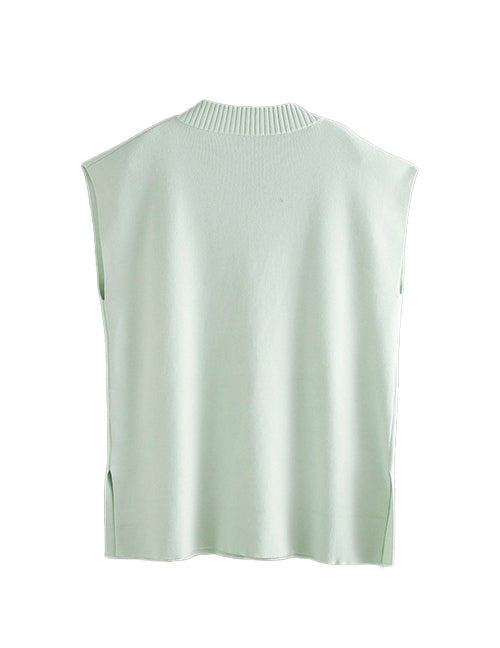 Load image into Gallery viewer, Green V-Neck Side Split Vest Top