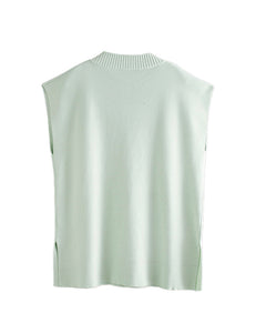 Green V-Neck Side Split Vest Top