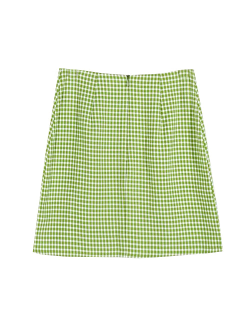 Load image into Gallery viewer, Green Grid Print with Side Slit Skirt