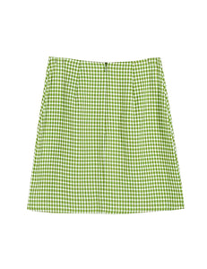 Green Grid Print with Side Slit Skirt