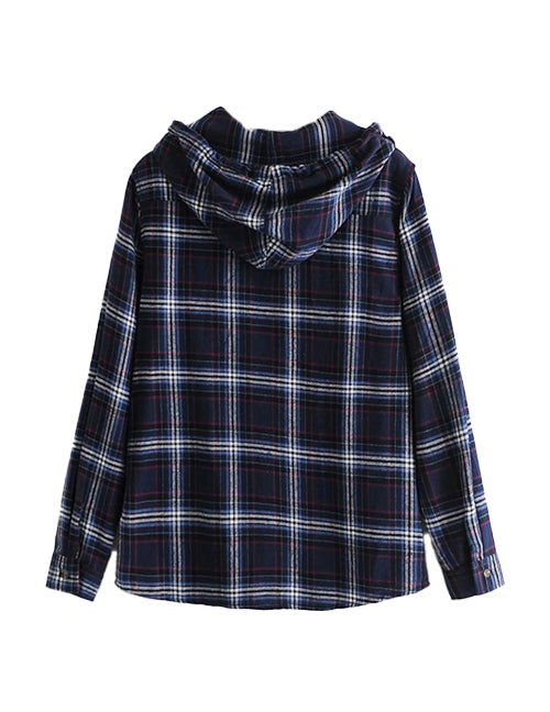 Load image into Gallery viewer, Navy Check Hooded Shirt Top