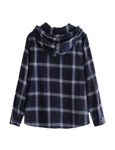 Navy Check Hooded Shirt Top
