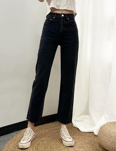 Black Straight Fit High Rise Jeans
