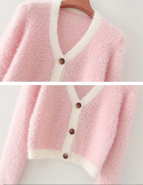 Load image into Gallery viewer, Pink with White Edge Fluffy Cardigan Top