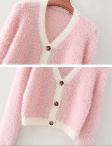 Pink with White Edge Fluffy Cardigan Top