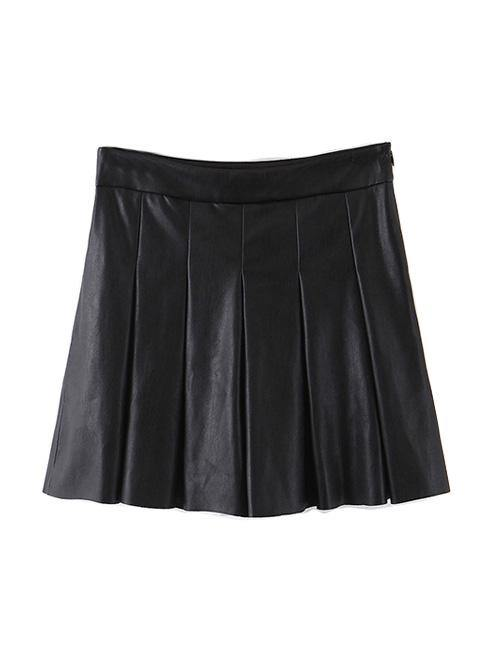 Load image into Gallery viewer, Black Pleated Leather Skort