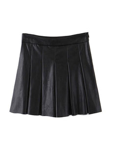 Black Pleated Leather Skort