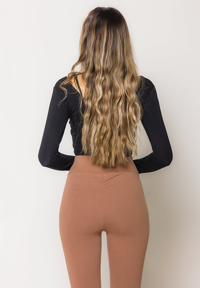 Load image into Gallery viewer, Brown Super Soft Cross Front High Waist Legging
