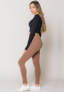 Brown Super Soft Cross Front High Waist Legging