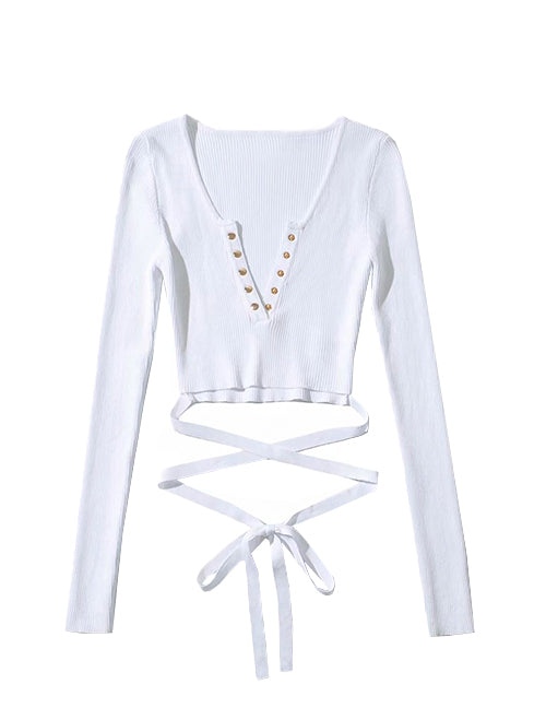 White Long Sleeve Ribbed Top Tie Waist Top