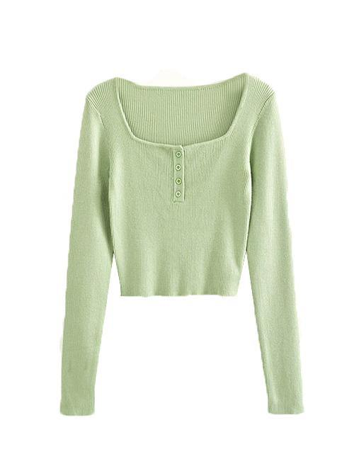 Green Four Button Hugging Top