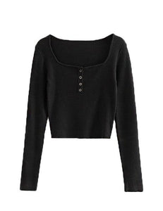 Black Four Button Hugging Top