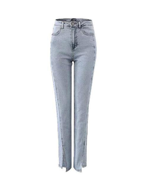 Blue Denim Front Slit High Waist Slim Fit Jeans
