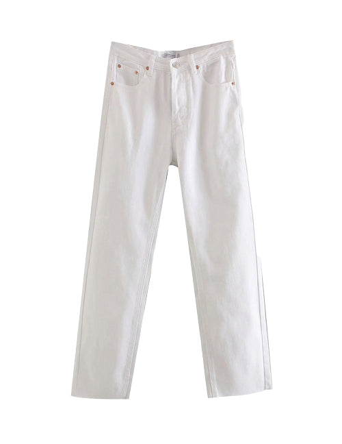 Load image into Gallery viewer, White High Rise Straight Leg Denim Jeans