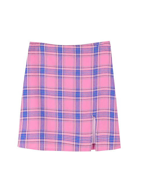 Load image into Gallery viewer, Pink and Purple Plaid Slit Skirt