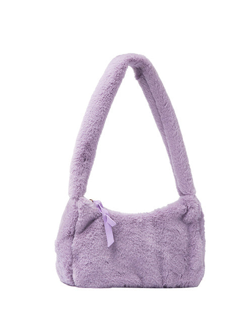 Purple Fluffy Shoulder Bag