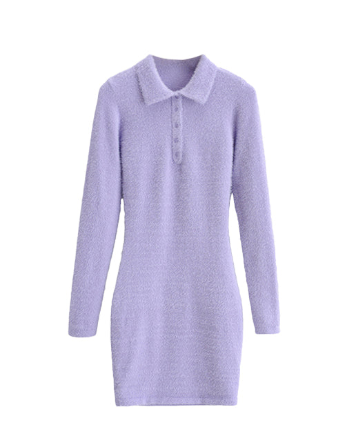 Load image into Gallery viewer, Purple Fuzzy Collared Long Sleeve Dress