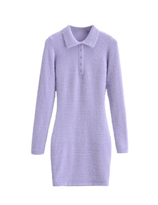 Purple Fuzzy Collared Long Sleeve Dress