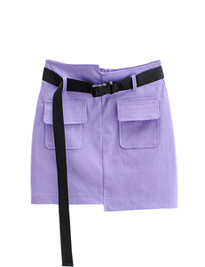 Purple Irregular Front with Belt Skort