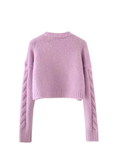 Purple Knitted Long Sleeve Sweater Top