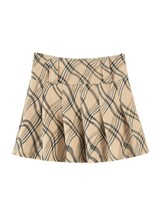Beige Pattern Co-ord Set Skirt