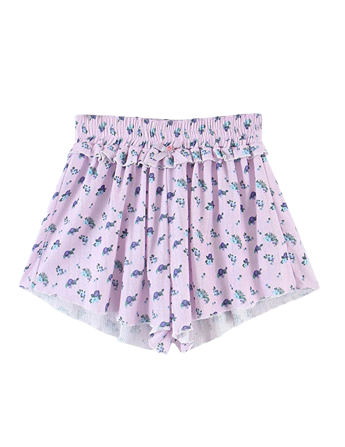 Purple Floral Ditsy Co-ord Set Shorts