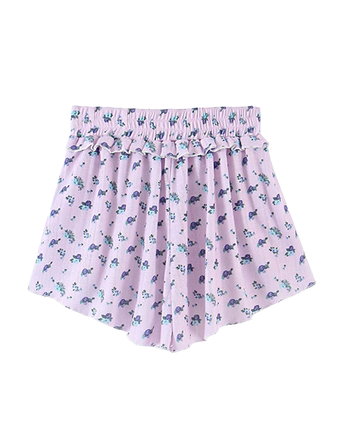 Load image into Gallery viewer, Purple Floral Ditsy Co-ord Set Shorts