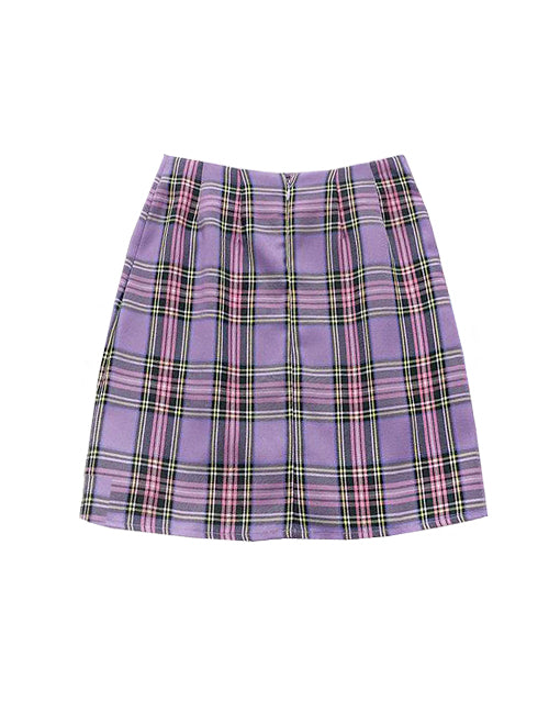 Load image into Gallery viewer, Purple Plaid Slit Skirt