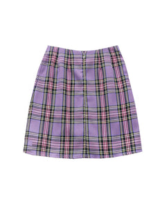 Purple Plaid Slit Skirt