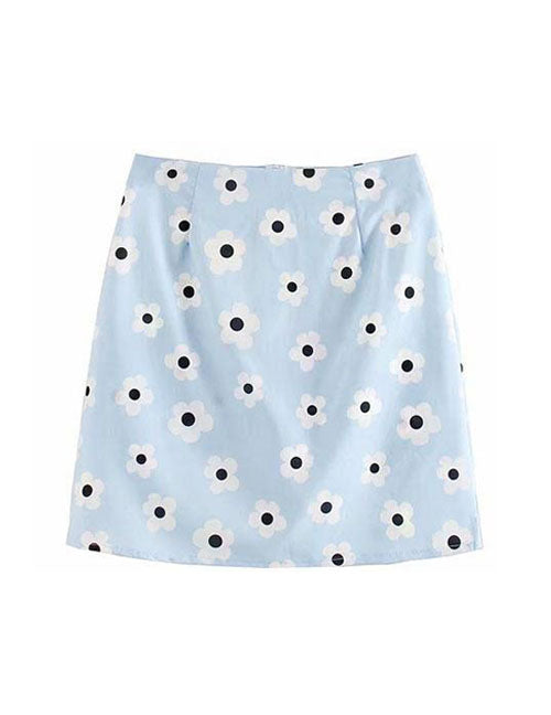 Baby Blue Floral Mini Skirt