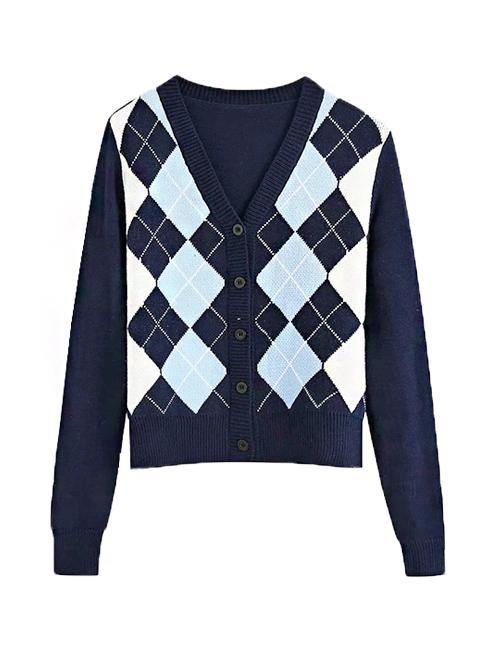 Load image into Gallery viewer, Navy Diamond Knit Cardigan
