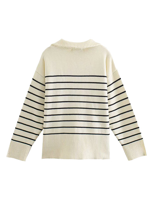 Load image into Gallery viewer, Cream Striped Oversized Half Zipper Sweater Top