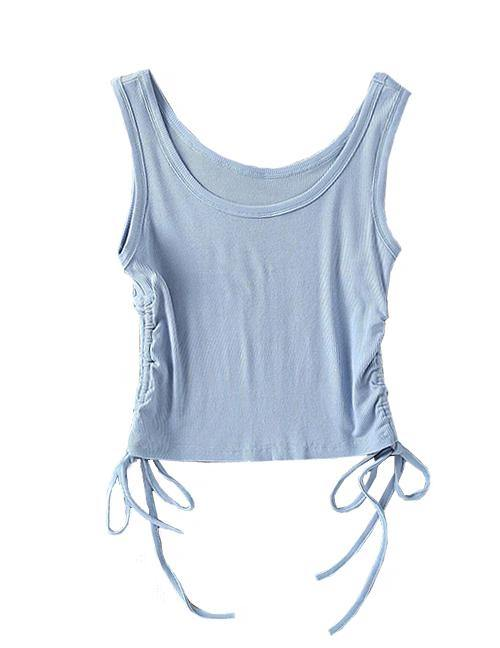 Load image into Gallery viewer, Blue Drawstring Sleeveless Top