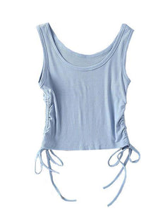 Blue Drawstring Sleeveless Top