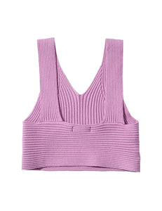 Purple Knit Crop Rib Top