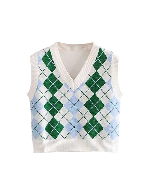 Load image into Gallery viewer, Green Diamond V-Neck Crop Vest Top