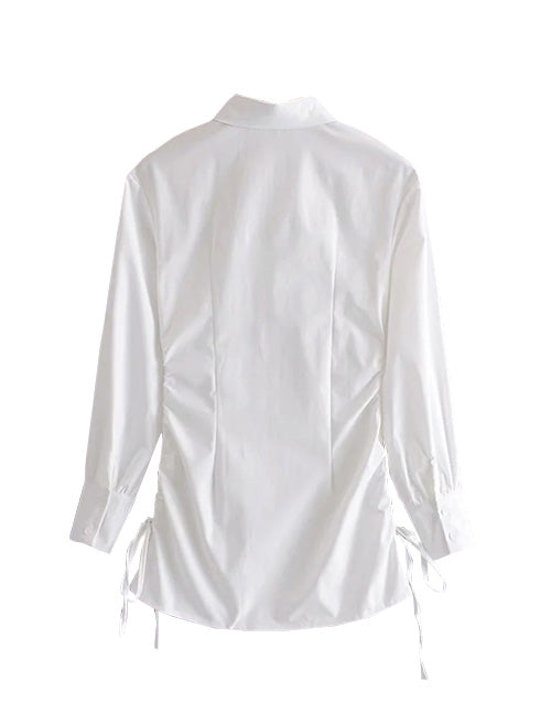 Load image into Gallery viewer, White Button Down Drawstring Shirt Dress