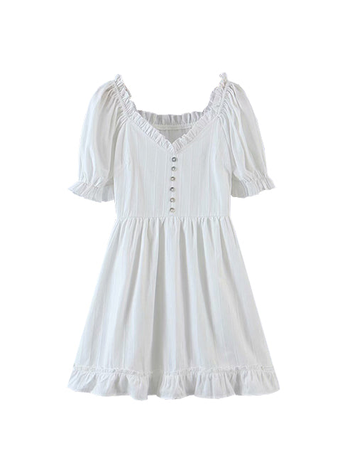 White Baby Doll Ruffle Shift Dress