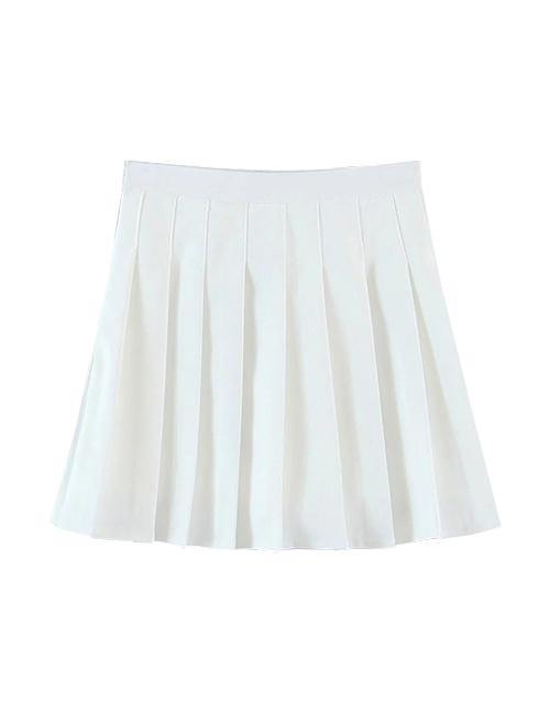 Load image into Gallery viewer, White Pleated Mini Skort