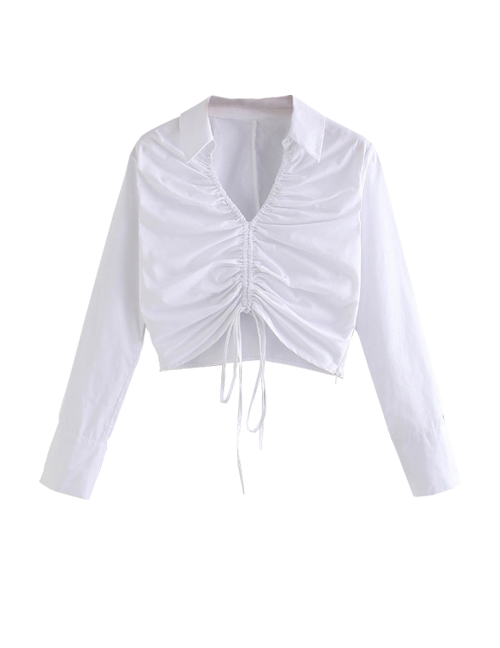 Load image into Gallery viewer, White Drawstring Long Sleeve Blouse Top