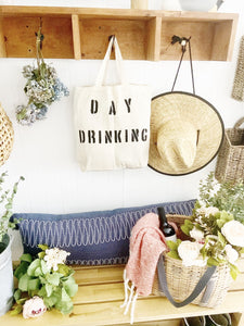 DAY DRINKING double bottle holding wine tote