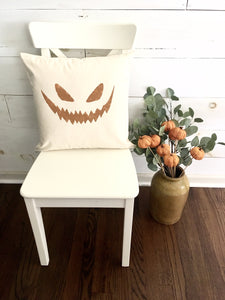 Hand Painted Jack-o-lantern face throw pillow cover