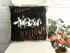 Vintage inspired All Hallows' Eve throw pillow cover