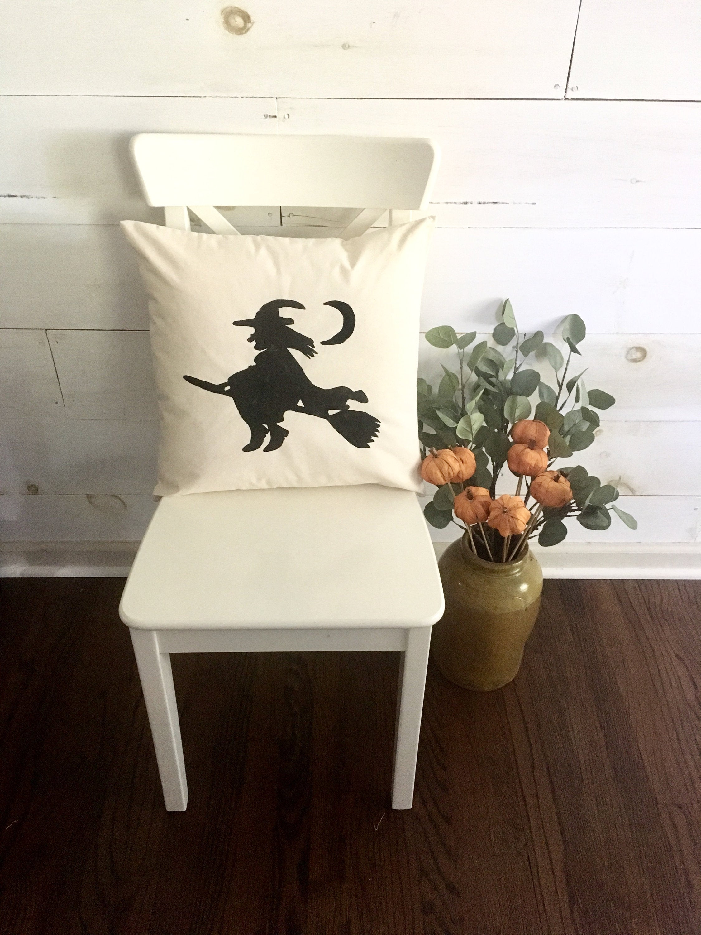Hand painted Witch throw pillow cover